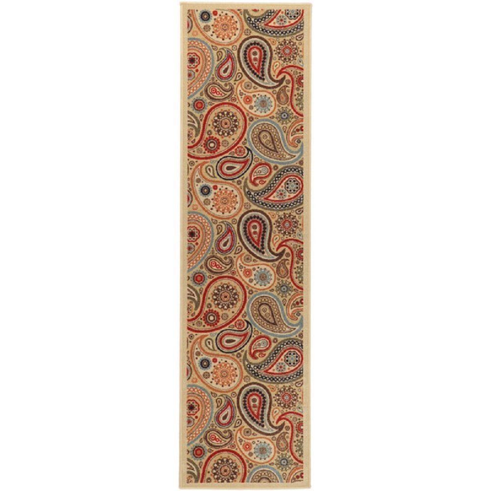 HandTufted Beige Floral Runner Rug, Gorgeous Paisley Pattern, Country Traditional, Beige, Royal Oriental Hand Work Design