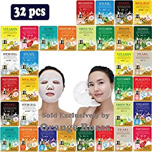 [OBS lab] 32 pcs Ultra Hydrating Essence Facial Mask Sheets ( 16 Types x 2 Each ), Korean Facial Mask Sheet, Moisturizing Skincare