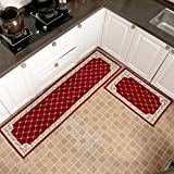 KEYAMA 2 pieces High-grade (18''Wx47''L+20''Wx71''L) Red Grid Acrylic Non-Slip Home Kitchen Floor Comfort Mat sets Home Decorative area Rugs Hallway Room aisle decorative Runner Fashion Doormat sets.