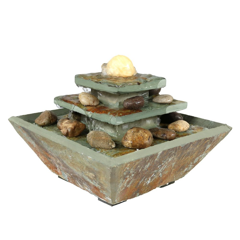 Sunnydaze Ascending Slate Tiered Water Fountain with LED Light, 8 Inch