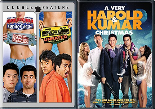 Holiday 3-Movie Comedy set A Very Harold & Kumar Christmas + Go to White Castle (Extreme Unrated), Harold & Kumar Escape from Guatanamo Bay (Unrated Special Edition) Triple Movie - Crazy In December Holidays
