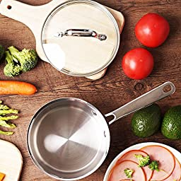 HOMI CHEF Mirror Polished Copper Band Nickel Free Stainless Steel 1 QT Sauce Pan with Glass Lid (No Toxic Non Stick Coating, 6.5 Inch) - Cookware Set - Cookware Pots And Pans Sets