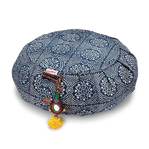Chattra Navy Bandhani Zafu Meditation / Yoga Cushion