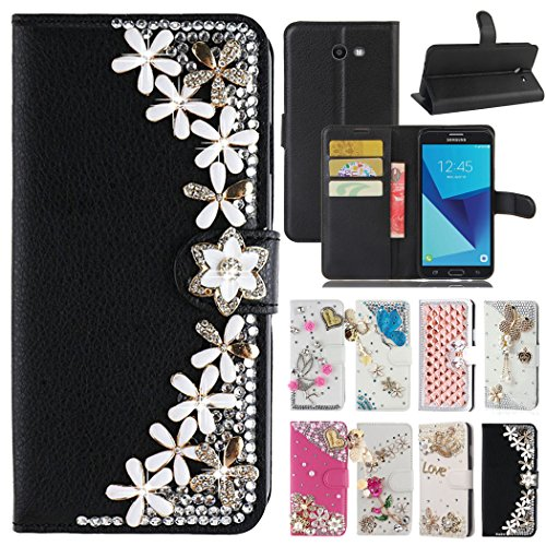 - J7 Perx/J7 Sky Pro/J7 V/J7 2017 Case, Best Share Luxury Bling Diamond Leather Flip Pocket Stand View Wallet Case Soft Bummper Full Cover For Samsung Galaxy J7V/J7 2017, Black Flowers