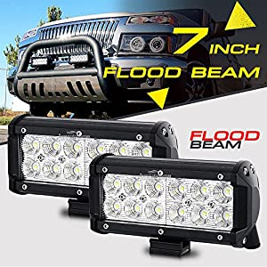 2x 7INCH 36W FLOOD CREE LED WORK LIGHT BAR OFFROAD ATV FOG TRUCK 4WD 12V VS SPOT