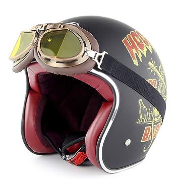 SOMAN Vintage de Cara Abierta Motocicleta Casco Moto Jet Bobber Chopper Crash 3/4 Casco certificación Dot con Harley Gafas Visera Parasol,Mouse,XL(60~61cm): ...
