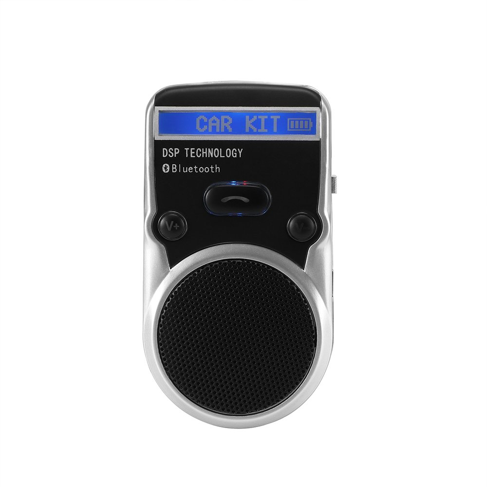 DDSKY Universal Solar Car Bluetooth Speakerphone Hands-free Car Kit Sunvisor In-Car Speaker Player Support Call Number Record/Private Talk with Screen & Car Charger for iPhone 8 7 Plus Samsung