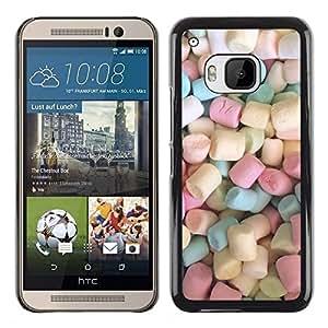 Marshmallow dulces de caramelo Pastel de color - Metal de aluminio y de plástico duro Caja del teléfono - Negro - HTC One M9