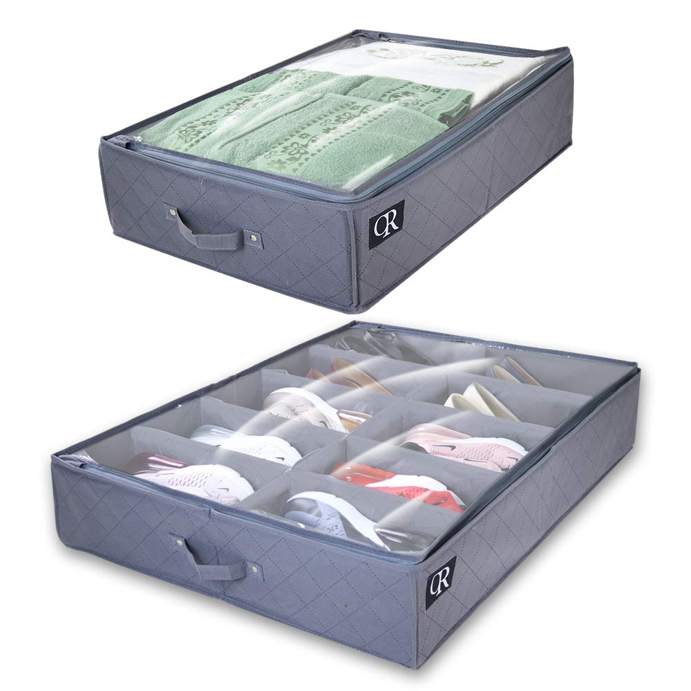 OR Under Bed Storage Made with Sturdy & Breathable Materials- Set of 2 Foldable Underbed Organizer Solution for Kids Adults (Men & Women) for Shoe and Clothing, More ''Closet & Room Space'' by OR