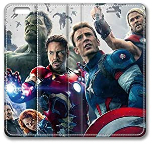 Avengers Age Of Ultron iPhone 4s Case, Leather Cover for iPhone 4s Premium Soft PU Leather Wallet Cover - Verizon, AT&T, Sprint, T-Mobile, International, and Unlocked with Black PC Hard Case Inside for iPhone 4s by iCustomonline