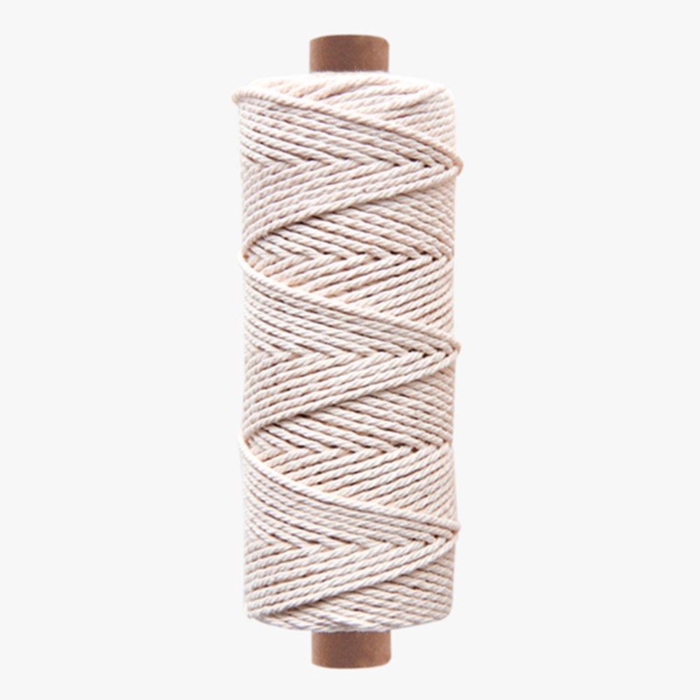 3mm - Natural White 3 Strand 100% Cotton Twisted Cord Rope Craft Macrame Artisan (100yards Tube)