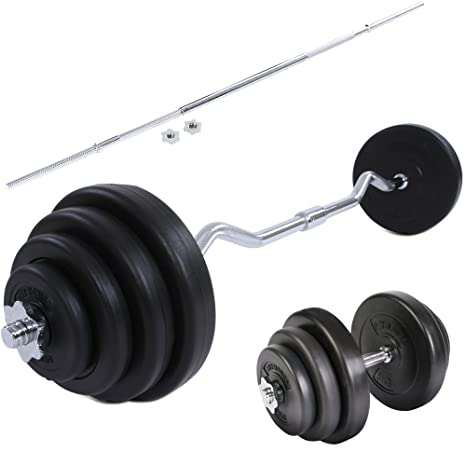 Physionics – Juego para gimnasio – Barra curva 23.5 kg + mancuernas 20 kg + barra