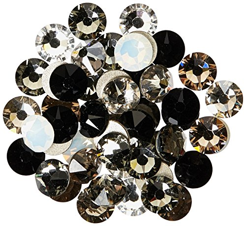- 144 Swarovski 2058 Xilion / 2088 Xirius Rose Crystal Flat Backs No-Hotfix Rhinestones Black & White Colors Mix ss20 (4.7mm)