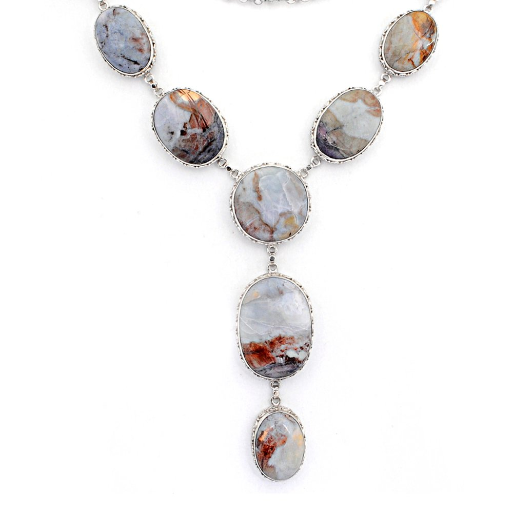 Orchid Jewelry Sterling Silver Jasper Necklace