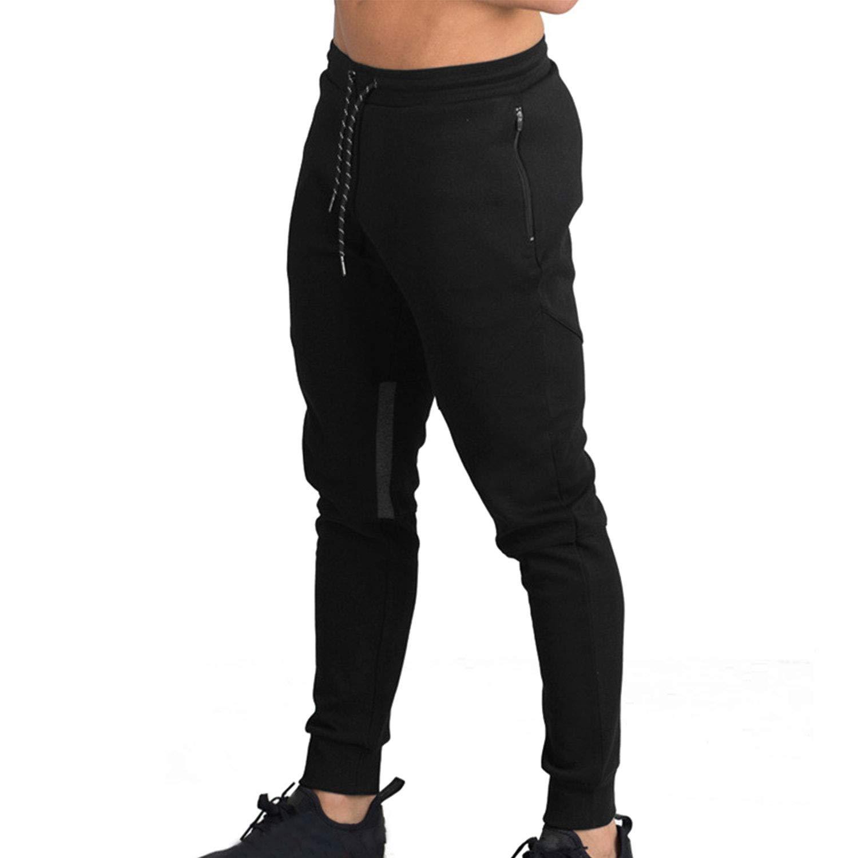 Naudamp Hombres Slim Gym Joggers Pantalones de chándal Chándal ...