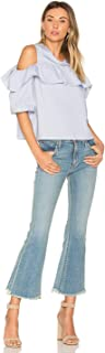 product image for James Jeans Kiki Artisan Mid Rise Frayed Hem Crop Flare Blue Jeans – 32 Petite