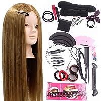 Neverland 24'' Têtes d'exercice avec Maquillage 50% Cheveux Naturel pour le Salon Coiffeur Poupée avec Support+Ensemble de Tresse