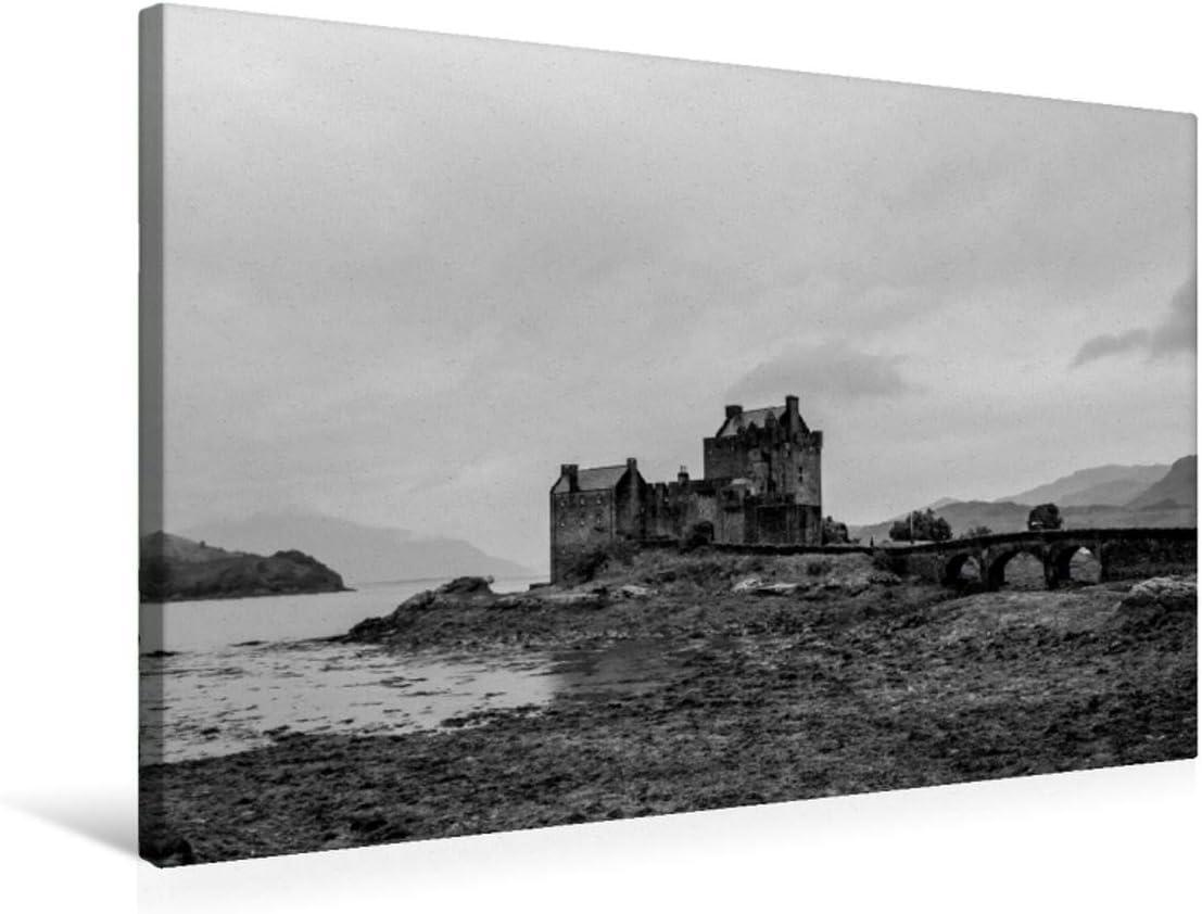 Premium - Lienzo textil (75 x 50 cm, horizontal), diseño del calendario escocés en blanco y negro