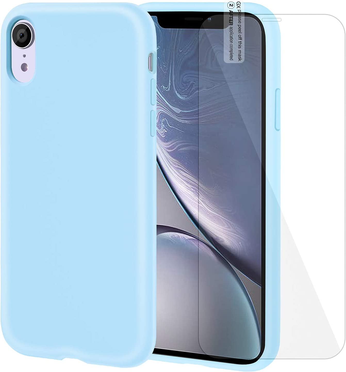 FulSoulComM iPhone XR Case Silicone Case with Screen Protector Anti-Slip Shockproof Anti-Scratch iPhone XR Protective Case for iPhone XR 6.1Inch (Light Blue)