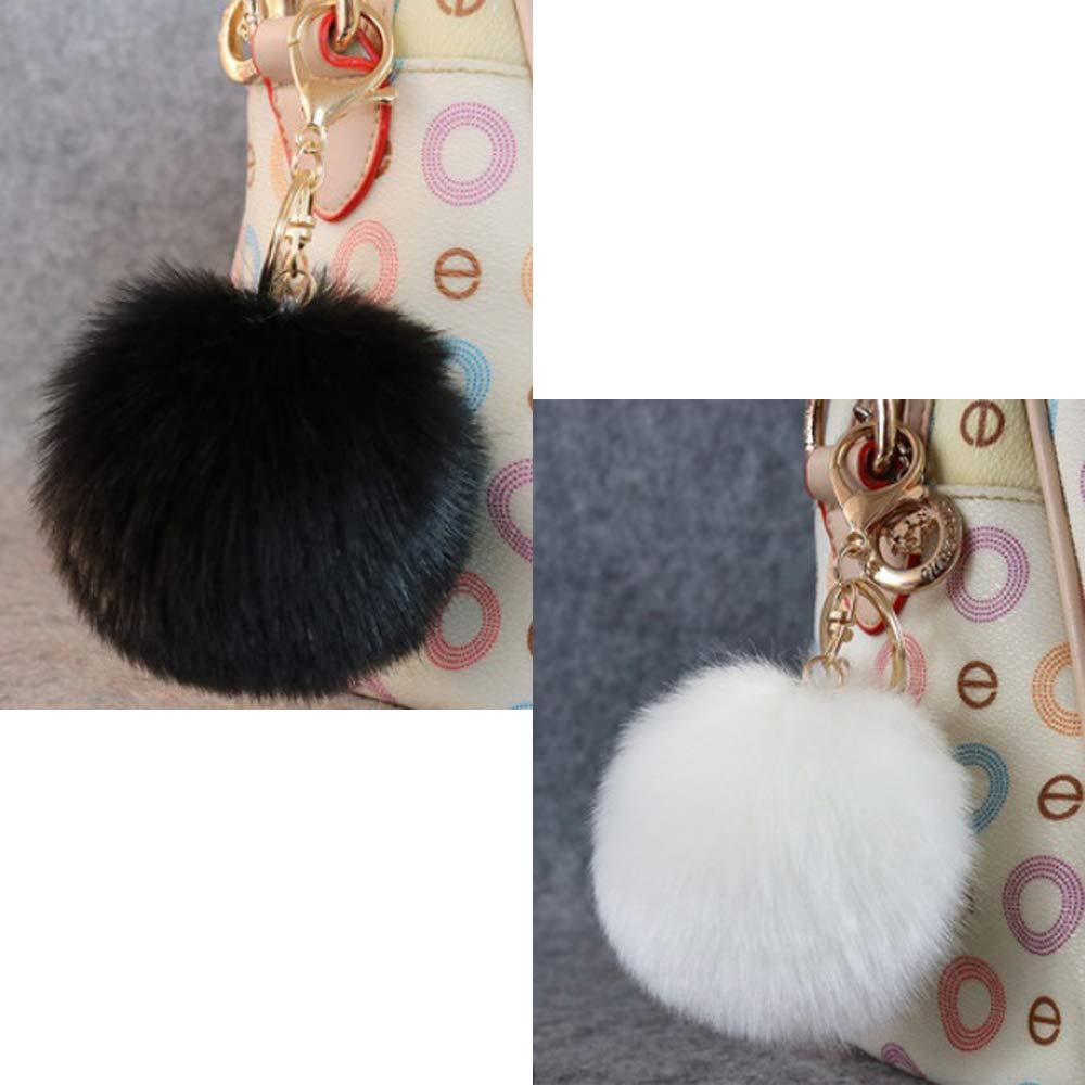 Amazon.com: Llavero con diseño de bola de piel de pompón de ...