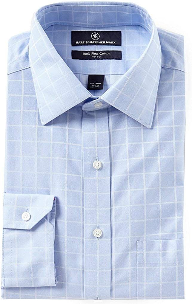 Hart Schaffner Marx Non-Iron Classic Fit Checks Spread Collar Dress Shirt S85DI010 Blue