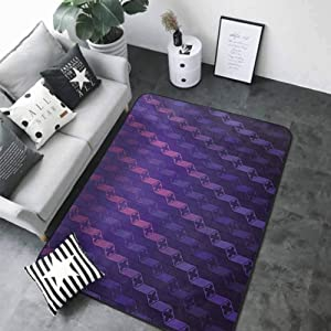 "Kitchen Doormat Indigo,Stairs Like Modern Futuristic Minimalist Squares with Cross on Top,Purple and Magenta Blue 80""x 120"" Rugs"