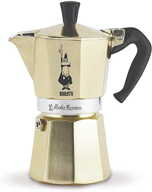 Bialetti Moka Express Coffee Maker (Gold, 6-Cup)