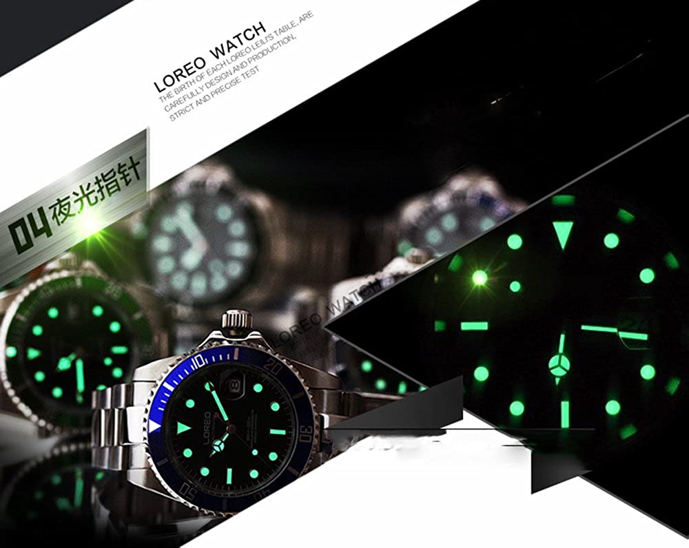 Loreo Mens Automatic Watch Silver Stainless Steel Parts Names Wrist Diagram Sapphire Crystal Green Rotating Bezel Analog Watches