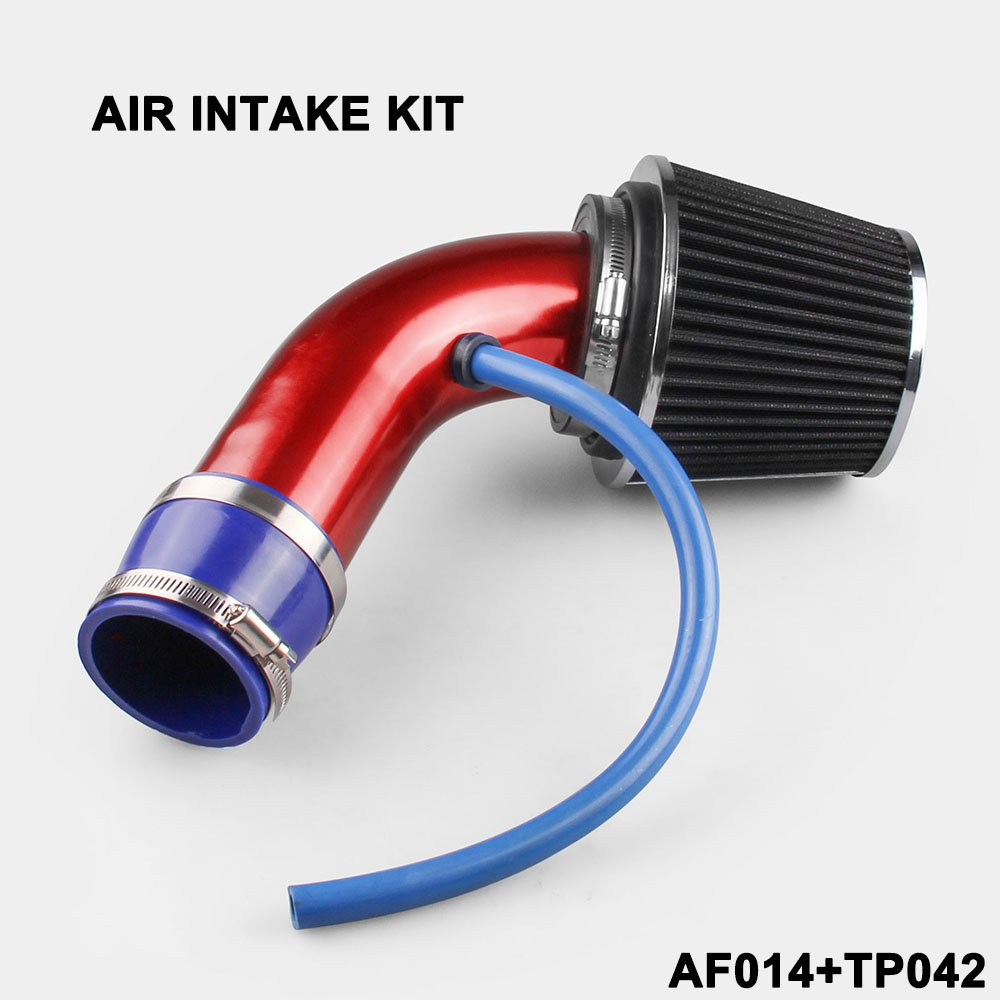 Ruien Universal Performance Induction Cold Air Intake Filter Alumimum 3inch//76mm Pipe Hose System Red