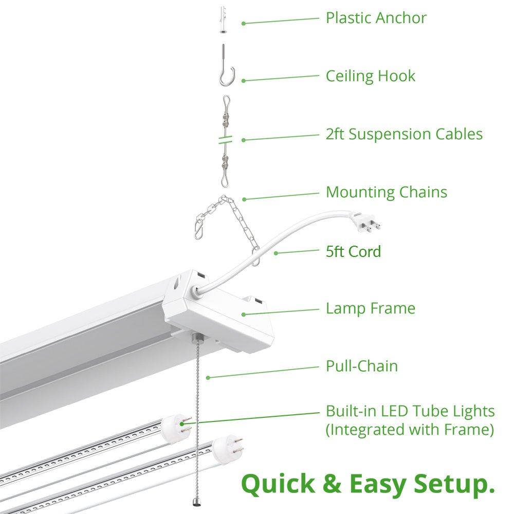 Sunco Lighting 4 Pack 4ft 48 Inch LED Utility Shop Light 40W (260W Equivalent) 5000K Kelvin Daylight, 4500 Lumens, Double Integrated Linkable Garage Ceiling Fixture, Clear Lens - Energy Star/ETL by Sunco Lighting (Image #5)