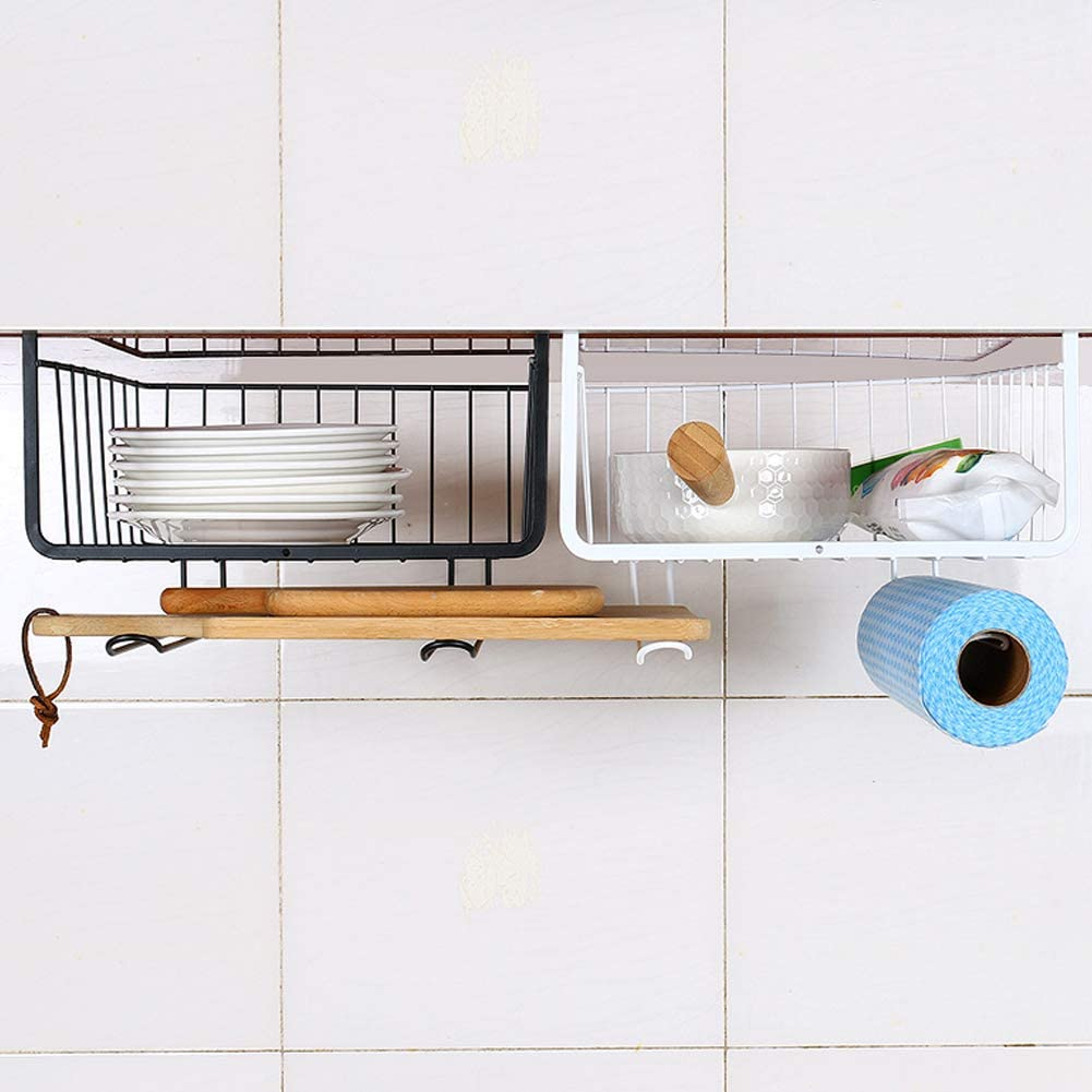 2 Pcs Under Shelf Basket, Shelves Wire Basket Hanging Basket Under Shelves Storage Rack for Kitchen Pantry Desk Bookshelf Cupboard