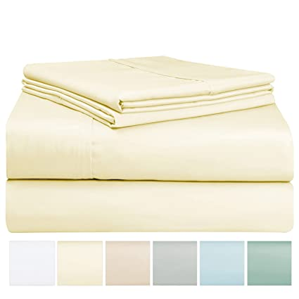 Gentil 400 Thread Count Sheet Set, 100% Long Staple Cotton Cream Queen Sheets,  Sateen
