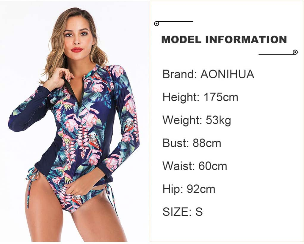 UPF50 Summer Beach Swimsuit for Sports Swimming//Scuba Diving//Snorkeling//Surfing Women Floral Print One Piece Diving Suits Long Sleeve Zipper Rash Guard