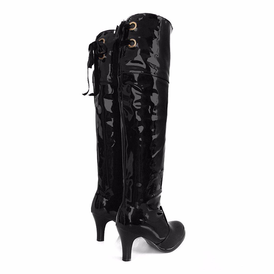 RFF-Woherren schuhe Europa und Die Vereinigten Staaten und Wasserdichte Stiefel Stiefel Größe Lace Knee High Heel Stiefel Rohr