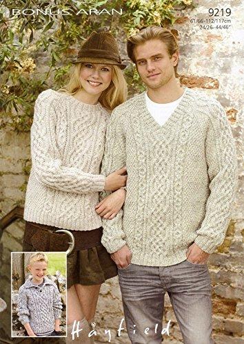 Sirdar Bonus Aran Ladies Mens Knitting Pattern 9219 Amazon