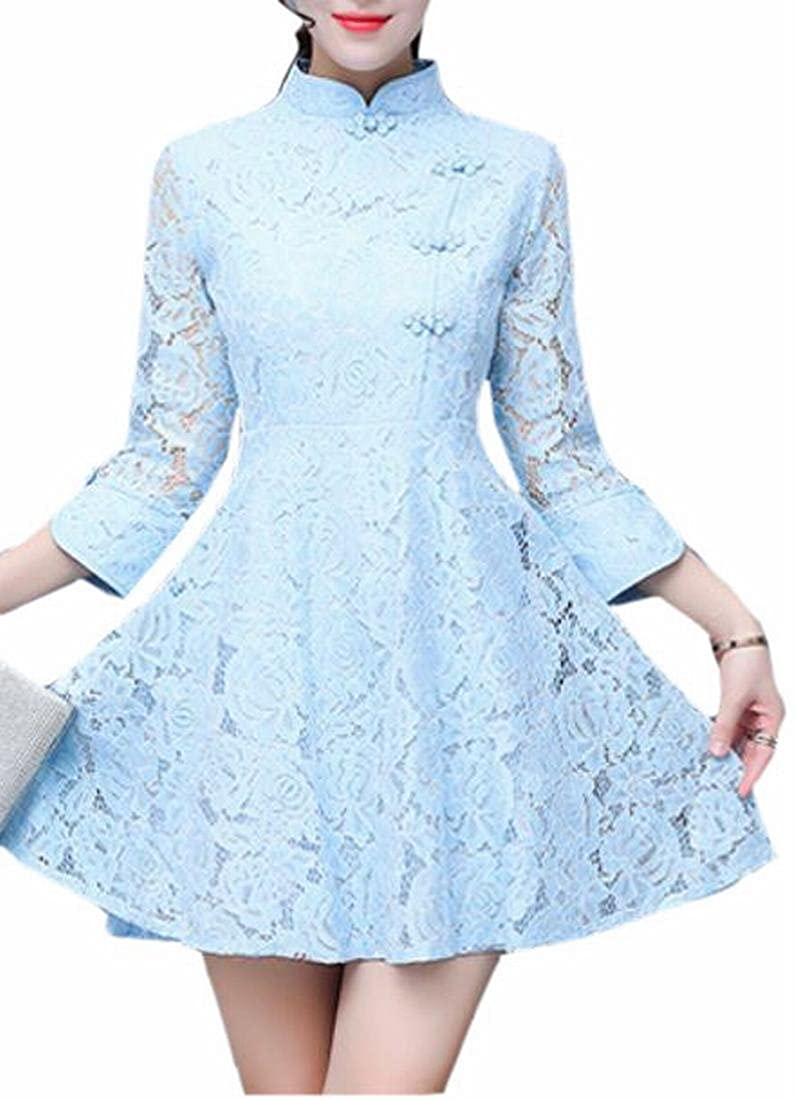 pujingge Women/'s V-Neck Elegant Floral Lace 3//4 Sleeve Cocktail Party Midi Dress