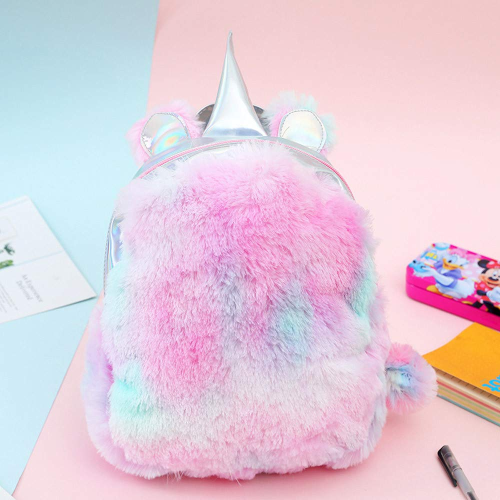 Amazon.com | 2019 New! Women Girls Plush Backpack Unicorn Bag Cute Campus Satchels Color Laser Rucksack Mini Bags Fashion Casual | Kids Backpacks