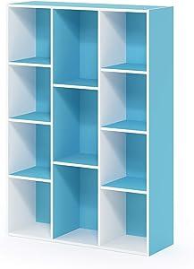 FURINNO 11-Cube Reversible Open Shelf Bookcase, White/Light Blue