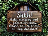 CELYCASY Baby Sleeping Sign | Protective Dog Sign | No Soliciting | Sleeping