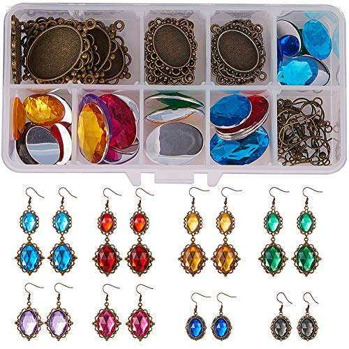 SUNNYCLUE 1 Box 24pcs Dangle Tray Earring Settings with 25x18mm 13x18mm Oval Acrylic Rhinestone Cabochon Domes Earring Hooks Jump Rings Instruction for DIY Jewelry Making Nickel Free, Antique Bronze