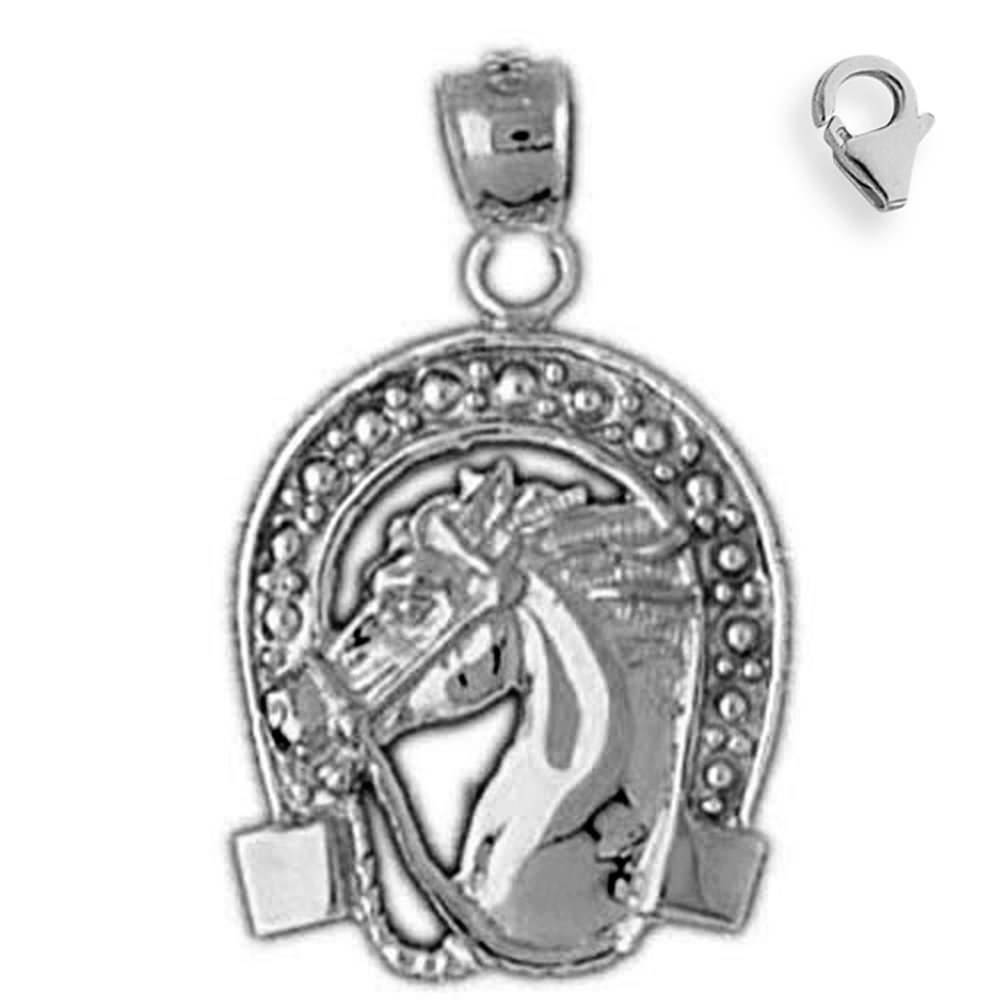 Jewels Obsession Horse Shoe And Horse Pendant Sterling Silver 25mm Horse Shoe And Horse with 7.5 Charm Bracelet