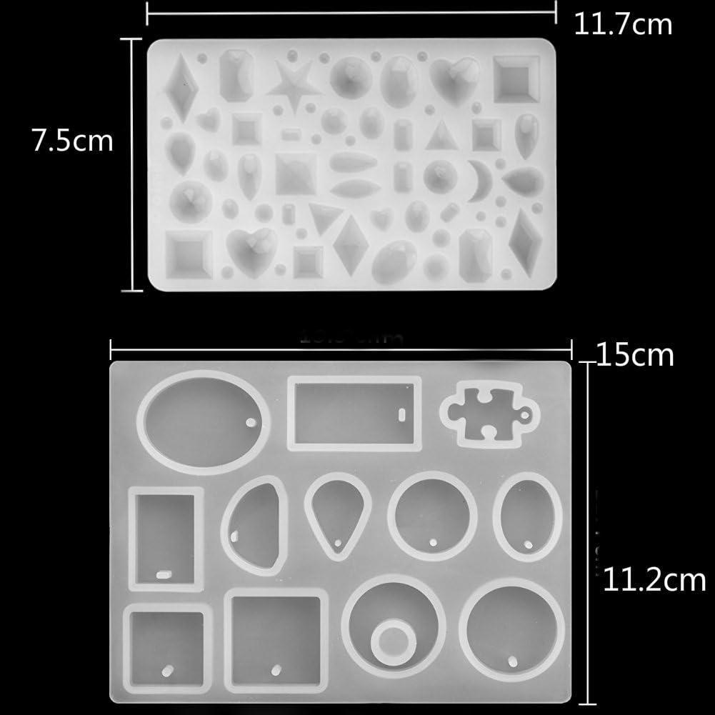 57formas Molde Silicona Resina Joyer/ía Collar Pendiente Fabricaci/ón de Colgante Creativo Bricolaje DIY