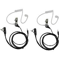 GoodQbuy® FBI Style Covert Acoustic Tube Headset Earpiece Mic For Cobra Micro-Talk 2 Way Radios Walkie Talkie MT200 MT525 MT550 PR375 PR385 PR550 CX80 CX105 CXT85 CXT88 CXT90 CXT94 CXR925 1-pin (2 Packs)