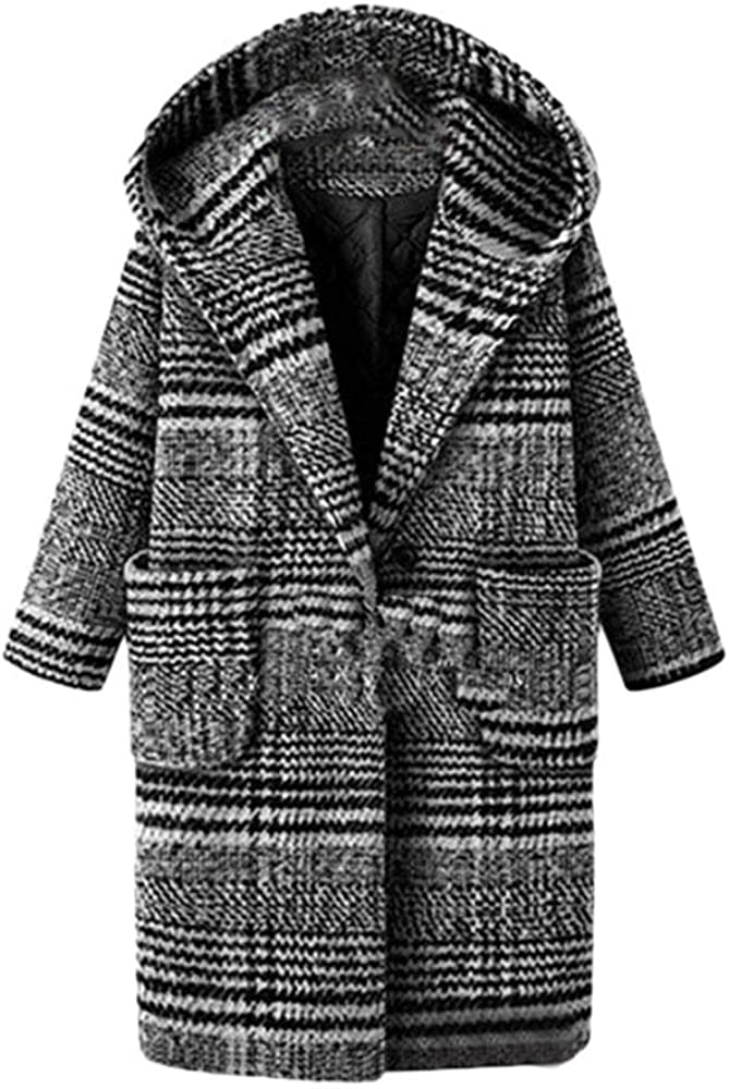 Gallity Plus Size Coat Outwear,Women Winter Lattice Coat Warm Thickening Woolen Overcoat
