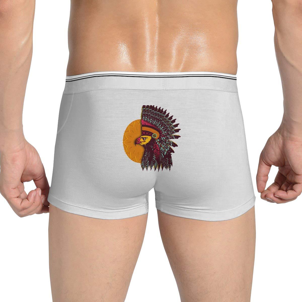 American Sun Indian Headdress Printed Mens Solid Ultra Soft Underwear Cotton Underwear Boxer Brief