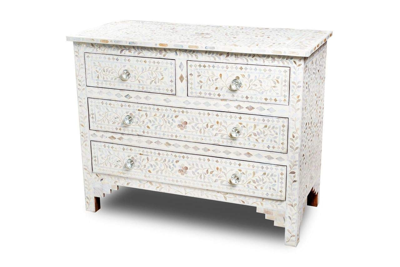 Indian Handmade Mother of Pearl Inlay 4 Drawers Chest in White