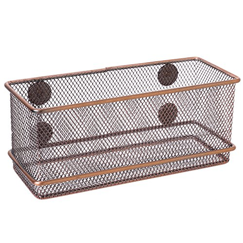 Bronze-Tone Wire Mesh Magnetic Basket Storage Tray, Office Whiteboard Supply Accessory Organizer