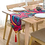 Exotic Boho Style Table Runner With Red Tassels 12''x87''- MAXYOYO Cotton and Linen Red Bohemian Table Runner for Wedding Party Decoration