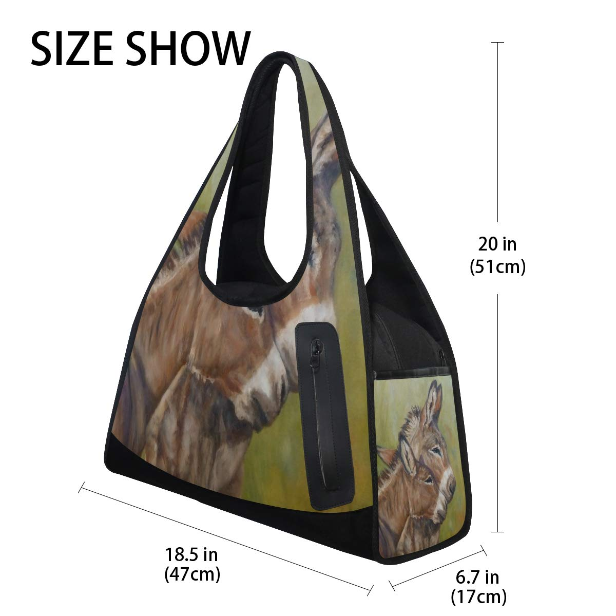 Painted Donkey Couple Women Sports Gym Totes Bag Multi-Function Nylon Travel Shoulder Bag