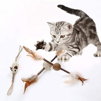 Dedeka Juguetes para Gatos, Juguete de la Pluma del Gato, 3 Piezas Juguete Interactivo